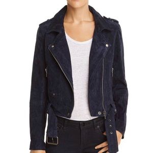Blank NYC suede blue moto jacket with belt